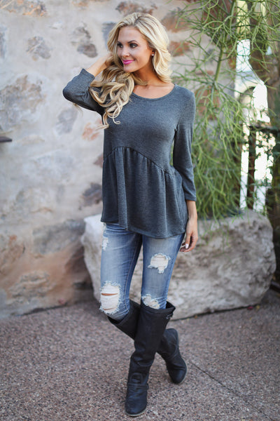 Catching Up With You Top - charcoal flowy top, fall outfit, Closet Candy Boutique