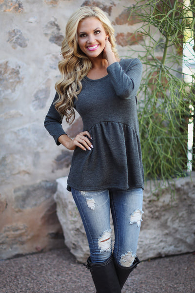 Catching Up With You Top - charcoal flowy top, front, Closet Candy Boutique