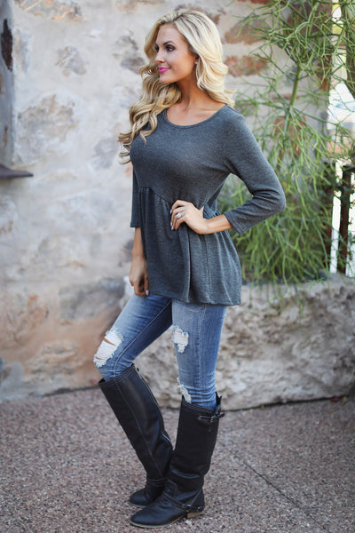 Catching Up With You Top - charcoal flowy top, side, Closet Candy Boutique
