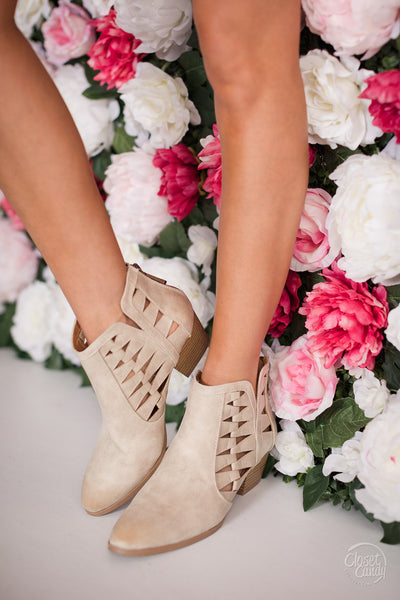 Way To You Cutout Booties - Stone