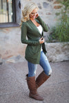 The Nearness of You Cardigan - cute olive cardigan, fall style, side, Closet Candy Boutique 6