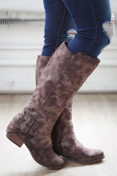 Walk My Way Suede Buckle Boots - Chocolate