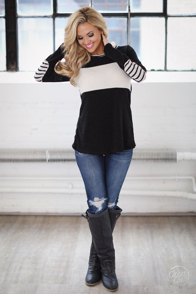 On Another Level Stripe Top - long sleeve stripe shirt, outfit, Closet Candy Boutique 2