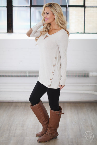 Closer To You Tunic - oatmeal elbow patch tunic top, fall outfit, side, Closet Candy Boutique