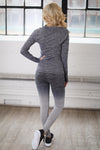 No Excuses Quarter Zip Top - charcoal long sleeve athletic top, back, Closet Candy Boutique