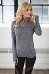 No Excuses Quarter Zip Top - charcoal long sleeve athletic top, front, Closet Candy Boutique