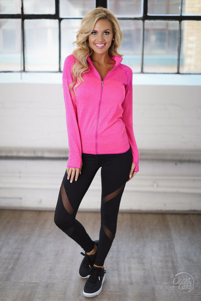 Strong & Beautiful Zip Up Jacket - pink athletic jacket, activewear, front, Closet Candy Boutique