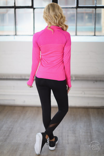 Strong & Beautiful Zip Up Jacket - pink athletic jacket, activewear, back, Closet Candy Boutique