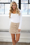 Classic In Corduroy Skirt - beige snap-front skirt, outfit view, Closet Candy Boutique