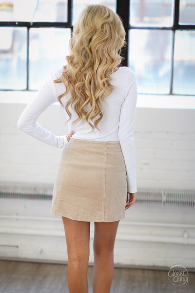 Classic In Corduroy Skirt - beige snap-front skirt, back, Closet Candy Boutique