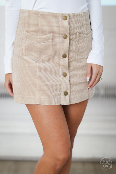 Classic In Corduroy Skirt - beige snap-front skirt, front, Closet Candy Boutique