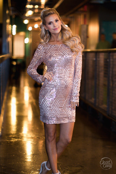 Life Of The Party Sequin Dress - Rose Gold
