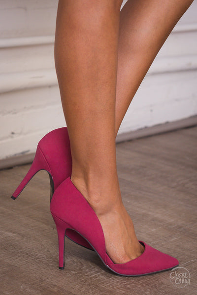 Suede D'Orsay Pumps - Fuchsia