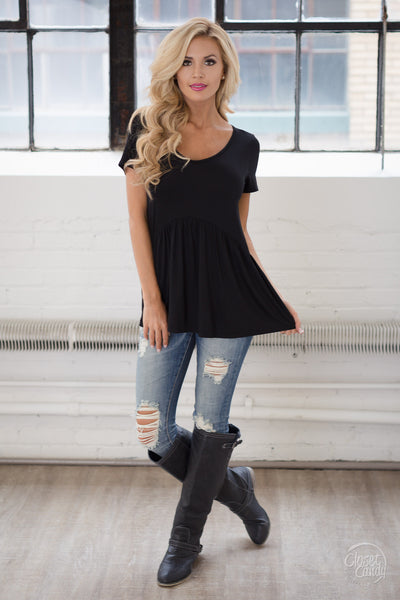 Remember When Top - black flowy short sleeve top, front, Closet Candy Boutique
