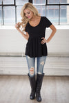 Remember When Top - black flowy short sleeve top, front, Closet Candy Boutique 5