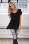 Remember When Top - black flowy short sleeve top, front, Closet Candy Boutique 1