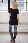 Remember When Top - black flowy short sleeve top, back, Closet Candy Boutique 4
