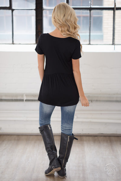 Remember When Top - black flowy short sleeve top, back, Closet Candy Boutique