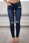 KANCAN In No Rush Distressed Skinny Jeans - Dark Wash