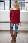 """Thankful"" Sweatshirt - Maroon glitter font off the shoulder sweatshirt, Closet Candy Boutique 4"