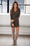 PIKO On A Mission V-Neck Dress - Mocha