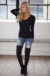 V-Neck Thermal Tops - long sleeve v-neck thermal shirt, black Closet Candy Boutique