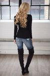 V-Neck Thermal Tops - long sleeve v-neck thermal shirt, black, Closet Candy Boutique