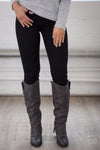 All For You Skinny Jeans - black stretchy skinny jeans, front, Closet Candy Boutique