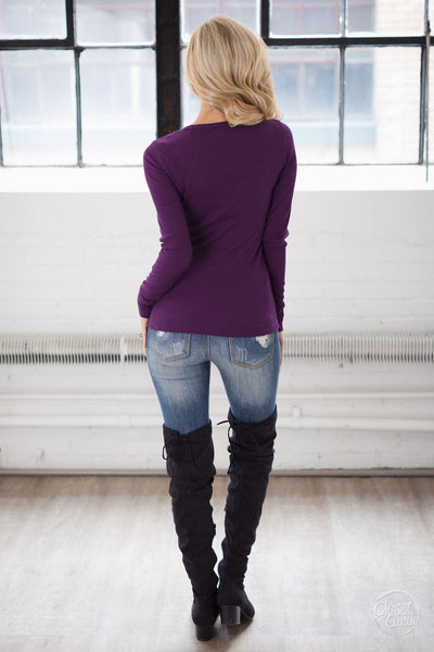 V-Neck Thermal Tops - long sleeve v-neck thermal shirt, purple, Closet Candy Boutique
