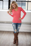 V-Neck Thermal Tops - long sleeve v-neck thermal shirt, coral, Closet Candy Boutique