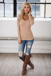 V-Neck Thermal Tops - long sleeve v-neck thermal shirt, beige, Closet Candy Boutique