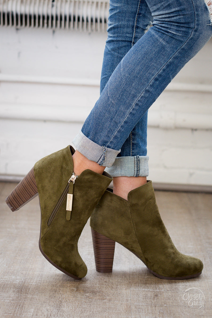 Lucky In Love Zipper Booties - Olive