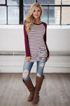 Free Time Tunic - Wine & Ivory stripe tunic top, front, Closet Candy Boutique