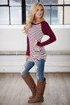 Free Time Tunic - Wine & Ivory stripe tunic top, side, Closet Candy Boutique