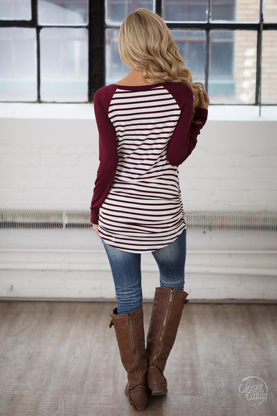 Free Time Tunic - Wine & Ivory stripe tunic top, back, Closet Candy Boutique