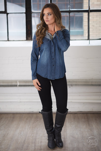 I Know A Thing Or Two Hooded Top - Dark Wash chambray hooded top, front, Closet Candy Boutique