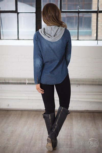 I Know A Thing Or Two Hooded Top - Dark Wash chambray hooded top, back, Closet Candy Boutique