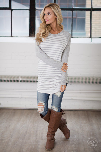 Free Time Tunic - Grey & White long sleeve striped raglan top, closet candy boutique 4