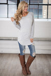 Free Time Tunic - Grey & White long sleeve striped raglan top, closet candy boutique 1