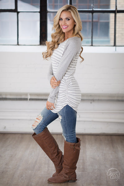 Free Time Tunic - Grey & White long sleeve striped raglan top, closet candy boutique 3