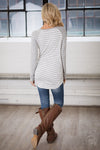 Free Time Tunic - Grey & White long sleeve striped raglan top, closet candy boutique 2