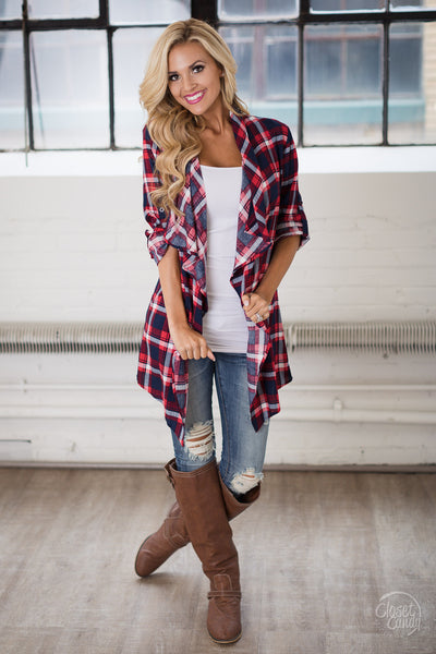 Country Charm Plaid Cardigan - Red & Navy