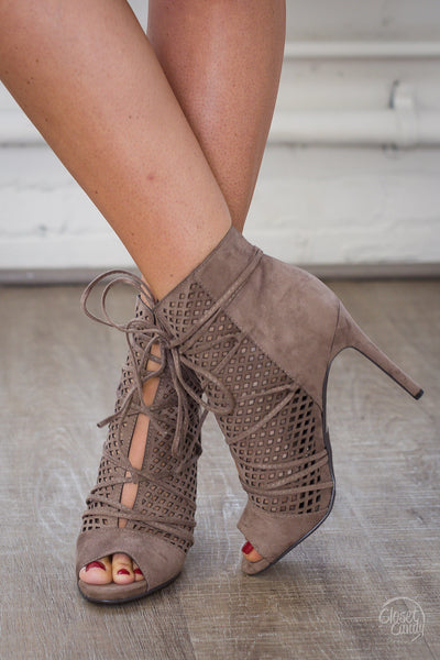 Up For A Good Time Peep Toe Heels - Taupe