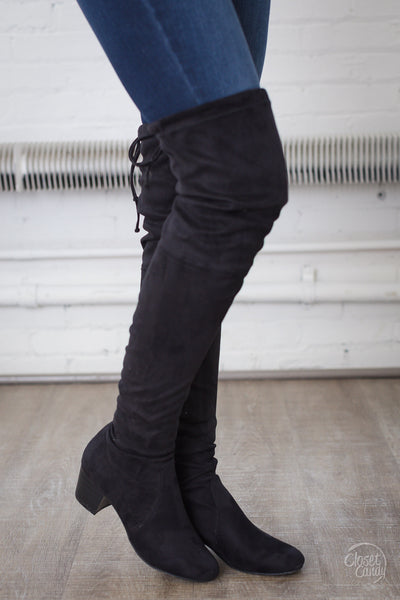 Pave the Path Thigh High Suede Boots - Black