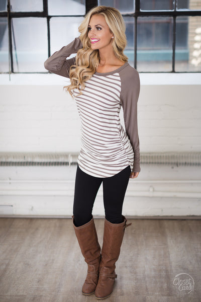 Free Time Tunic - Mocha & White stripe tunic top, front, Closet Candy Boutique