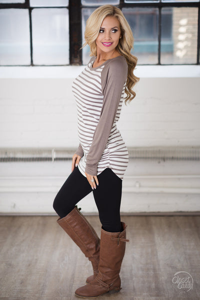 Free Time Tunic - Mocha & White stripe tunic top, side, Closet Candy Boutique