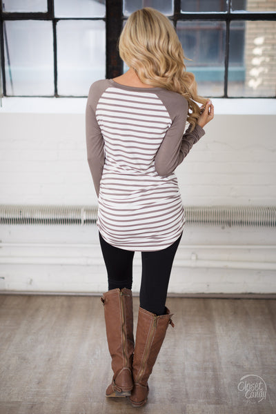Free Time Tunic - Mocha & White stripe tunic top, back, Closet Candy Boutique