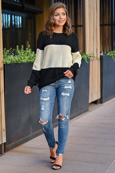 CBRAND Smitten For You Sweater - Black, Ivory womens fall cozy color block knit sweater closet candy front; Model: Hannah Sluss