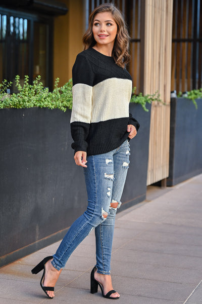 CBRAND Smitten For You Sweater - Black, Ivory womens cozy color block knit sweater closet candy side; Model: Hannah Sluss