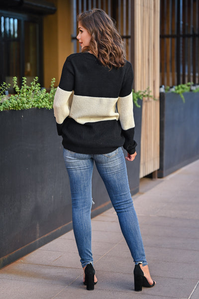 CBRAND Smitten For You Sweater - Black, Ivory womens cozy color block knit sweater closet candy back; Model: Hannah Sluss